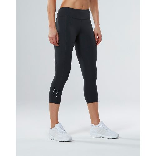 Womens 2XU Active Compression 7/8 Crop Tights - Charcoal/Silver XL