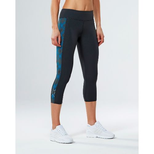 Womens 2XU Active Compression 7/8 Crop Tights - Charcoal/Geo Blue M
