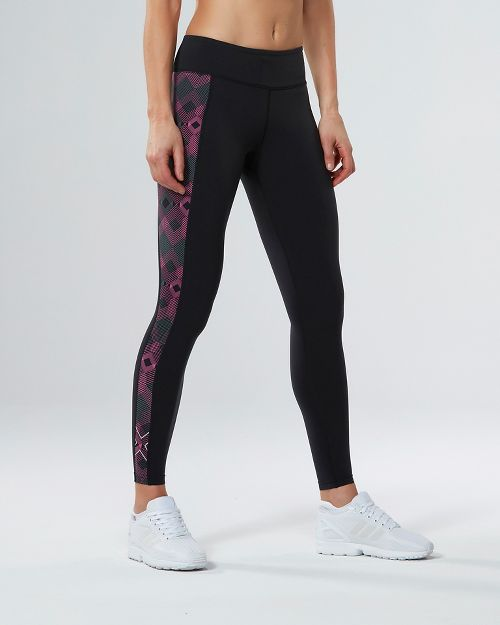 Womens 2XU Active Compression Tights - Black/Geo Pink XS