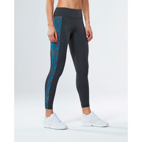 Womens 2XU Active Compression Tights - Charcoal/Geo Blue L