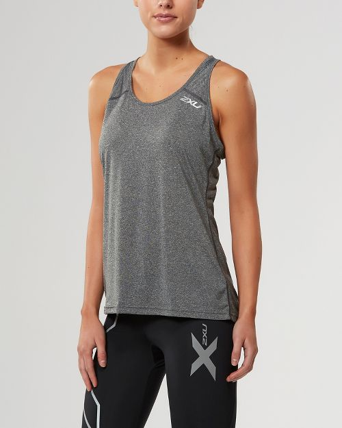 Womens 2XU ACTIVE Training Singlet Sleeveless & Tank Tops Technical Tops - Black Marle L