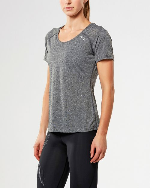 Womens 2XU ACTIVE Training Tee Short Sleeve Technical Tops - Black Marle XS