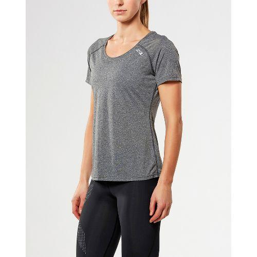 Womens 2XU ACTIVE Training Tee Short Sleeve Technical Tops - Black Marle XL