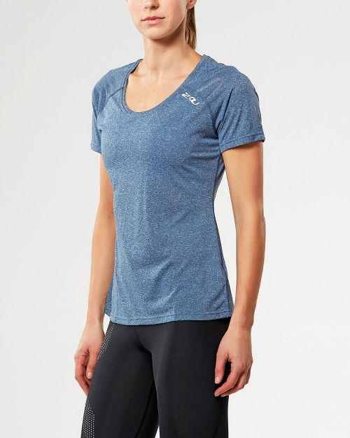 Womens 2XU ACTIVE Training Tee Short Sleeve Technical Tops - Navy Marle L