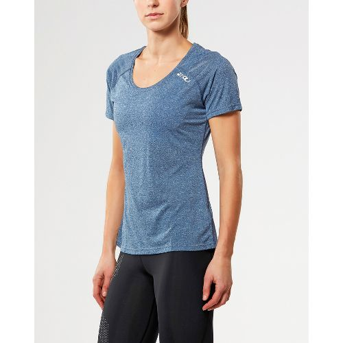 Womens 2XU ACTIVE Training Tee Short Sleeve Technical Tops - Navy Marle XS