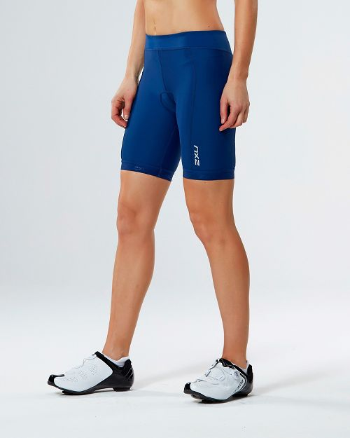Womens 2XU ACTIVE Tri Cycling Shorts - Navy/Navy S