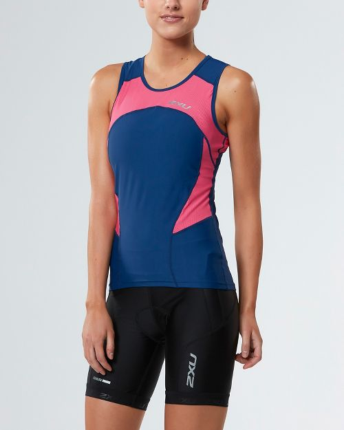 Womens 2XU ACTIVE Tri Singlet Sleeveless & Tank Tops Technical Tops - Pink/Navy XL