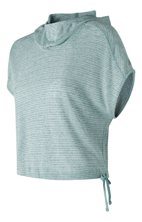 Womens New Balance Poncho Short Sleeve Technical Tops - Storm Blue S