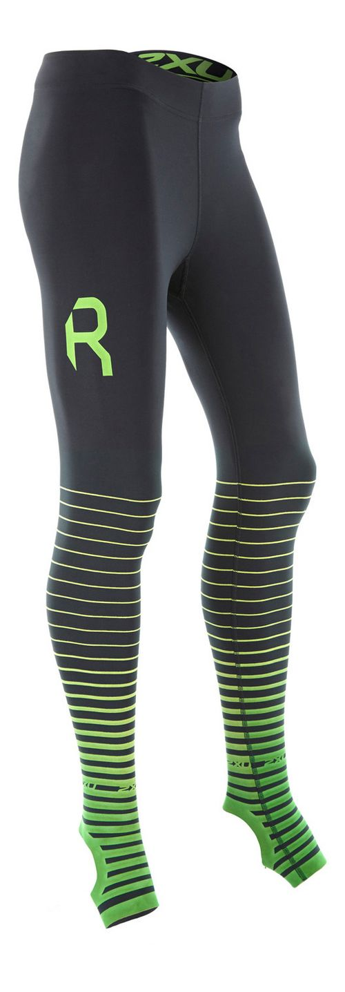 Womens 2XU Elite Power Recovery Compression Tights - Black/Green L