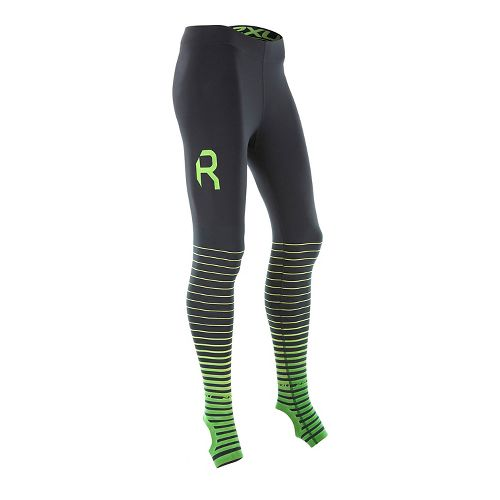 Womens 2XU Elite Power Recovery Compression Tights - Black/Green M-T