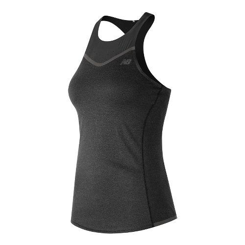 Womens New Balance Precision Run Sleeveless & Tank Technical Tops - Black Heather L