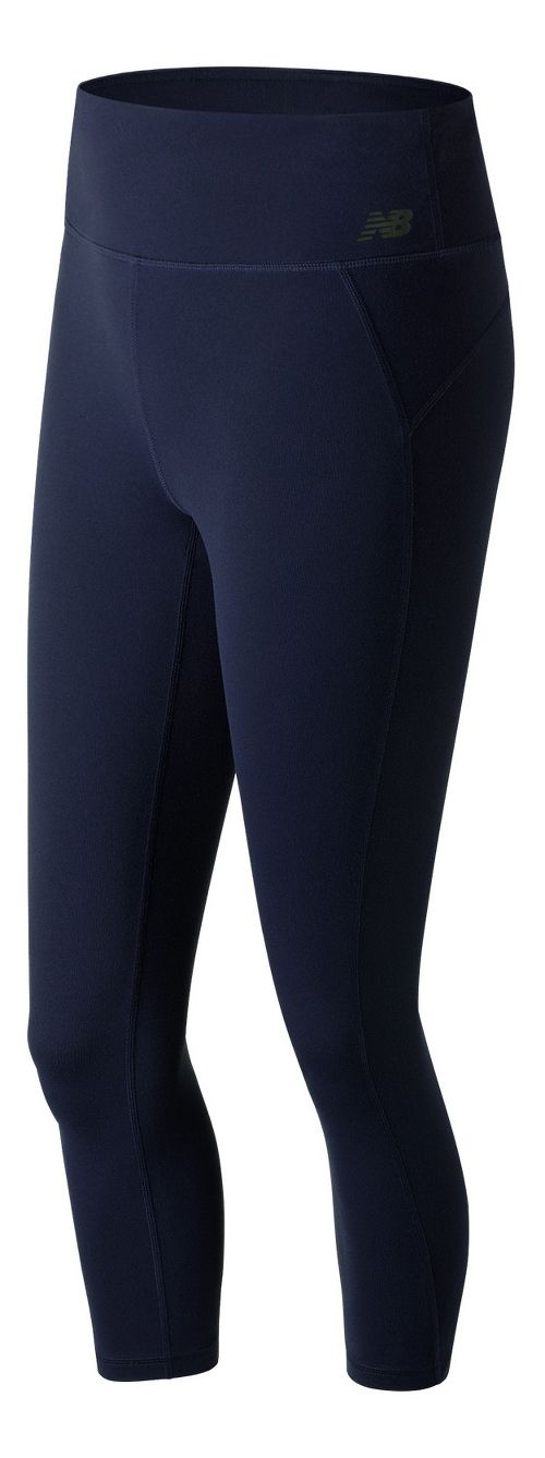 Womens New Balance Premium Performance 3/4 Crop  Tights - Pigment XS