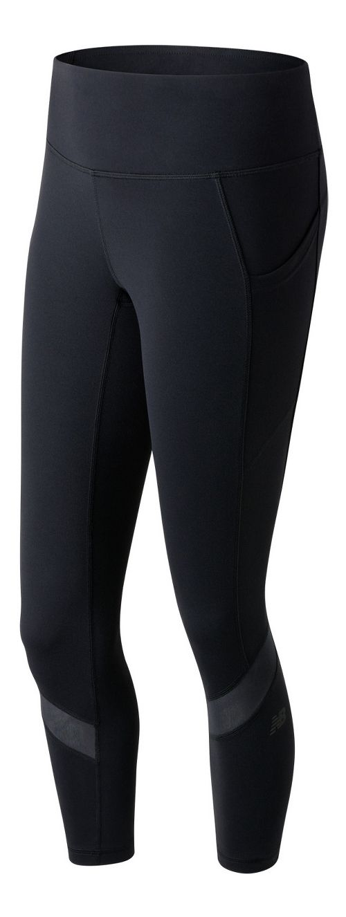 Womens New Balance Premium Performance Fashion Crop  Tights - Black S