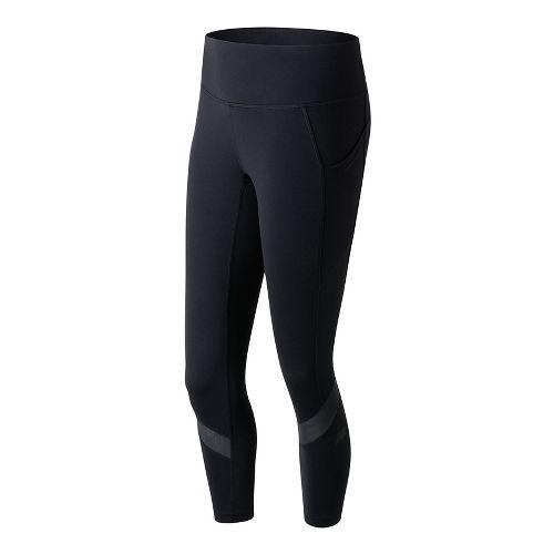 Womens New Balance Premium Performance Fashion Crop  Tights - Black L
