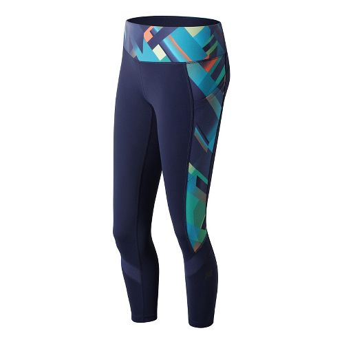 Womens New Balance Premium Performance Fashion Crop  Tights - Gradient Plaid S