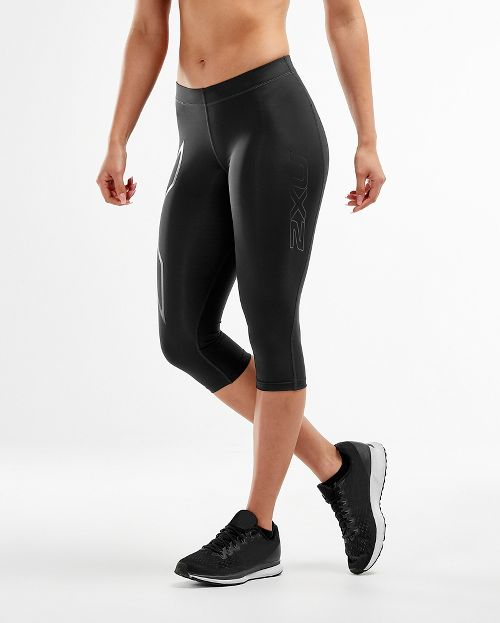 Womens 2XU Core Compression 3/4 Capris Tights - Black/Nero XS
