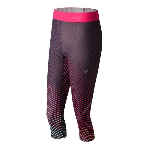 Womens New Balance Printed Accelerate Capris Tights - Outerspace Print M