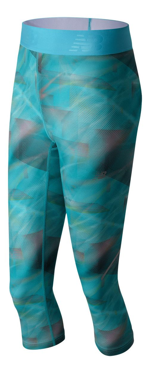 Womens New Balance Printed Accelerate Capris Tights - Cosmic Print XL