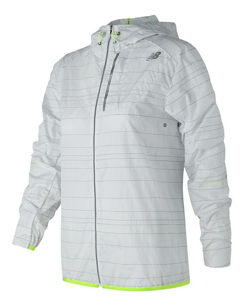 Womens New Balance Reflective Lite Packable Running Jackets - White XL