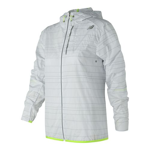 Womens New Balance Reflective Lite Packable Running Jackets - White XL