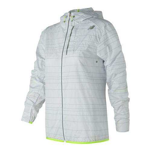 Womens New Balance Reflective Lite Packable Running Jackets - White XS