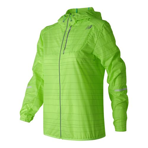 Womens New Balance Reflective Lite Packable Running Jackets - Lime Glow L