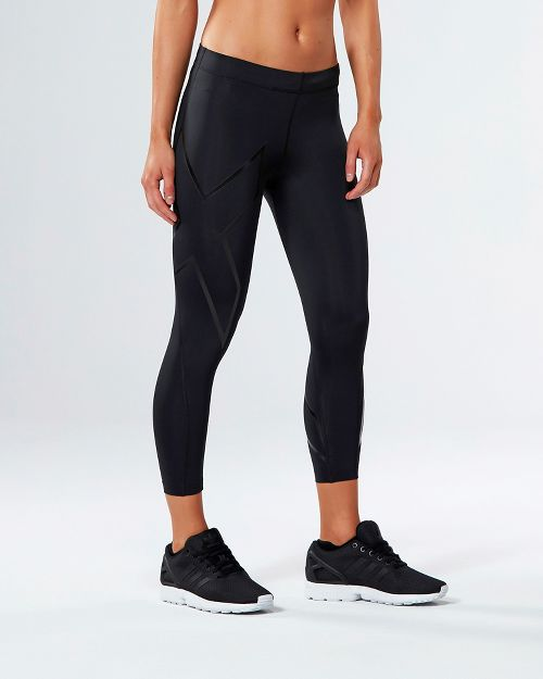 Womens 2XU Core Compression 7/8 Crop Tights - Black/Nero S