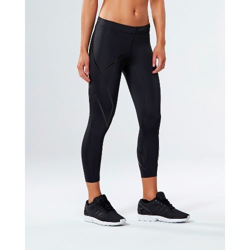 Womens 2XU Core Compression 7/8 Crop Tights - Black/Nero L