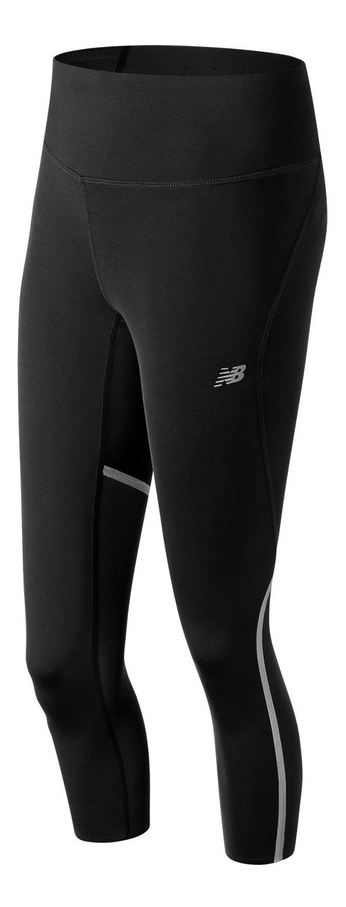 Womens New Balance Sprint Crop Capris Tights - Black XS