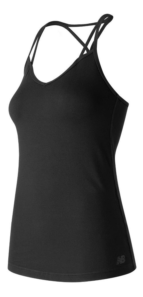 Womens New Balance Strappy Bra Top Sleeveless & Tank Technical Tops - Black XL