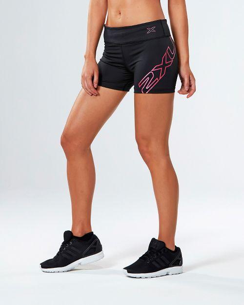 Womens 2XU X-CTRL Speed Compression & Fitted Shorts - Black/Fandango Pink XL