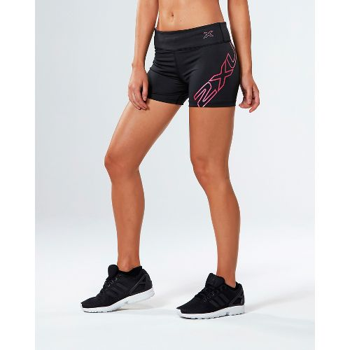 Womens 2XU X-CTRL Speed Compression & Fitted Shorts - Black/Fandango Pink L