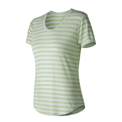 Womens New Balance Stripe Scoop Neck Tee Short Sleeve Technical Tops - Blade Green S
