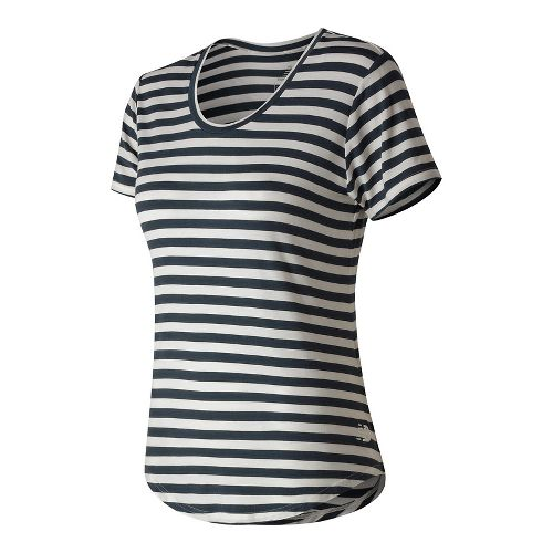 Womens New Balance Stripe Scoop Neck Tee Short Sleeve Technical Tops - Navy L