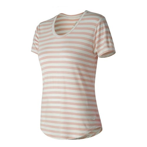 Womens New Balance Stripe Scoop Neck Tee Short Sleeve Technical Tops - Sunrise Glow S