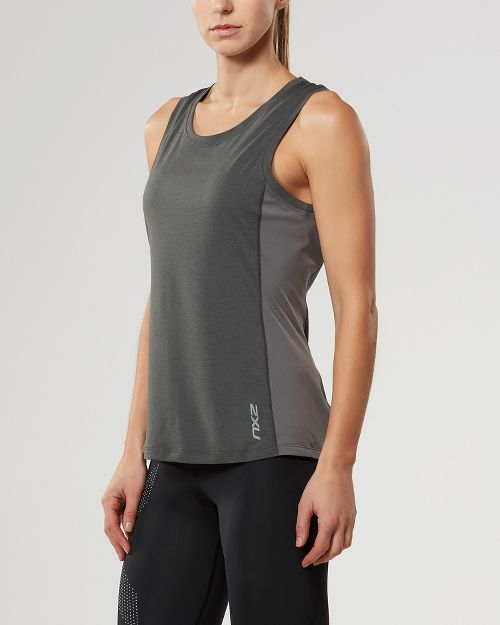 Womens 2XU X-CTRL Sleeveless & Tank Tops Technical Tops - Charcoal/Silver M