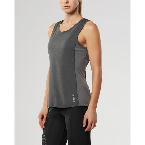 Womens 2XU X-CTRL Sleeveless & Tank Tops Technical Tops - Charcoal/Silver XL