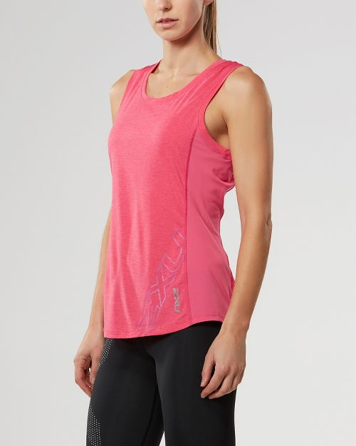 Womens 2XU X-CTRL Sleeveless & Tank Tops Technical Tops - Fandango Pink/Silver M