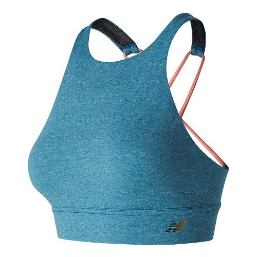 Womens New Balance Studio Crop Top Sports Bras - Lake Blue Heather S