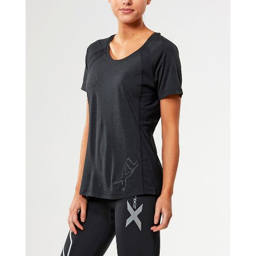 Womens 2XU X-CTRL Tee Short Sleeve Technical Tops - Black/Silver L