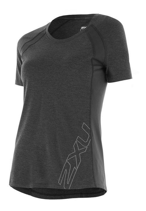 Womens 2XU X-CTRL Tee Short Sleeve Technical Tops - Charcoal/Silver XL