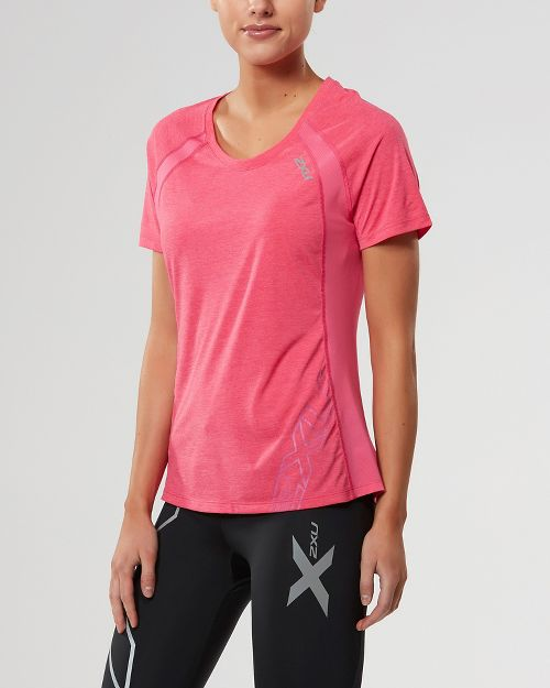 Womens 2XU X-CTRL Tee Short Sleeve Technical Tops - Fandango Pink/Silver XL