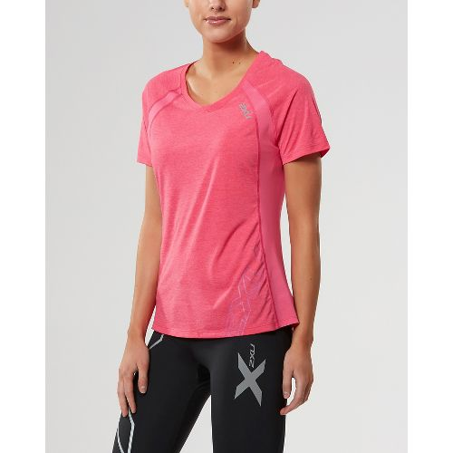 Womens 2XU X-CTRL Tee Short Sleeve Technical Tops - Fandango Pink/Silver M