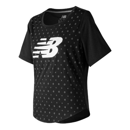 Womens New Balance Trackster Top Short Sleeve Technical Tops - Black M