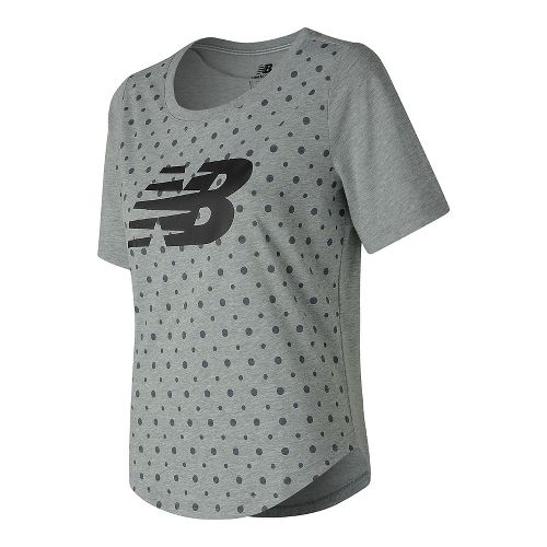 Womens New Balance Trackster Top Short Sleeve Technical Tops - Heather Grey M