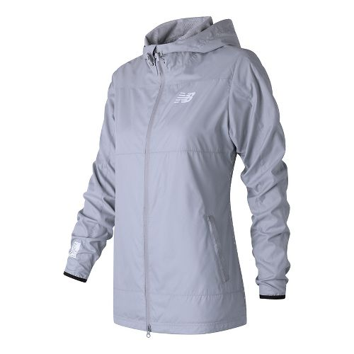 Womens New Balance Trackster Woven Casual Jackets - Silver Mink M