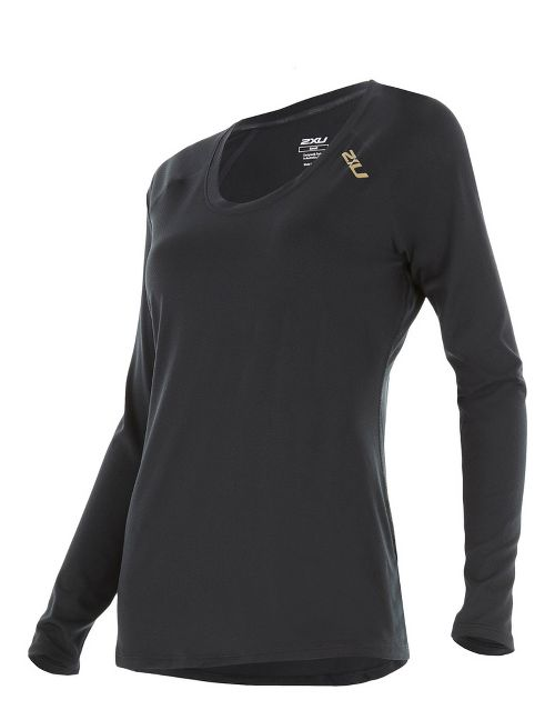Womens 2XU X-LITE Tee Long Sleeve Technical Tops - Black/Gold M