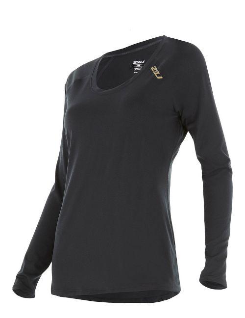 Womens 2XU X-LITE Tee Long Sleeve Technical Tops - Black/Gold S