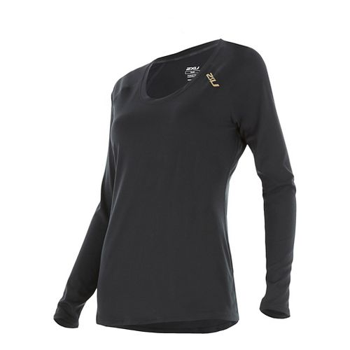 Womens 2XU X-LITE Tee Long Sleeve Technical Tops - Black/Gold S