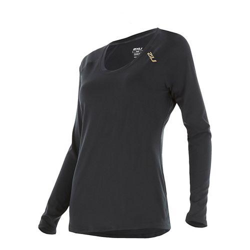 Womens 2XU X-LITE Tee Long Sleeve Technical Tops - Black/Gold XS
